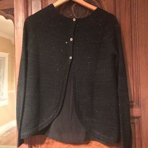 Dex Black Sparkle Knit Layered Sweater